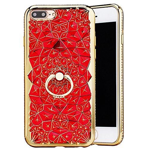 """Housse pour Apple iPhone 7Plus 5.5""""(NON iPhone 7 4.7""""), CLTPY 3D Coloré Scintillement Placage Bordure Case, Ultra Léger Mince Hull de Protection Absorption des Choques pour iPhone 7Plus + 1x Stylet -  Rouge avec Anneau"""
