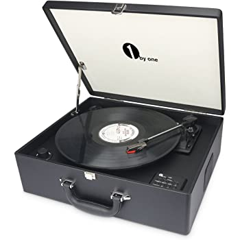 1byone Suit-case Style Turntable with Speaker, Bluetooth support and Vinyl-To-MP3 Recording, Belt Driven Record Player, Black
