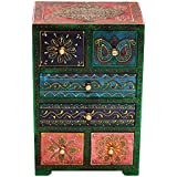 Latest Home Decor vertical Multicolor Brass Work Embossed 6 drawer wooden Box Gift (11 x 7 Inches)