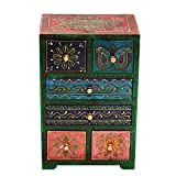 #7: New Home Decor vertical Multicolor Brass Work Embossed 6 drawer wooden Box Gift (11 x 7 Inches)