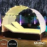 Swing & Harmonie Polyrattan Sonneninsel Doppelliege Gartenliege Rattan Liege Insel Sonnenliege