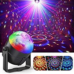 Party Lights, Gvoo Sound Activated Dj Disco Lights Rotating Ball Lights 5w 7 Modes Rgb Led Stage Lights With Remote Control For Home Outdoor Holidays Dance Parties Birthday Dj Bar Karaoke Xmas Wedding Show Club Pub