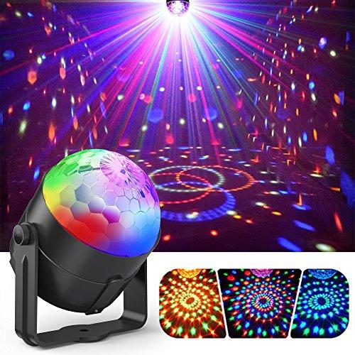 Bühnenlicht, Gvoo Lampe Party 5W Leuchtmittel LED 7RGB mit Sound-Bedienung Mini Projektor Kugel Kristall Beleuchtung Fernbedienung für Geschenk Bühne Party Club DJ Disco Bars Clubs Karaoke -