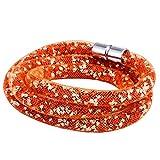 Morella Damen Strass Glitzer Wickelarmband oder Halskette mit Magnetverschluss orange weiß