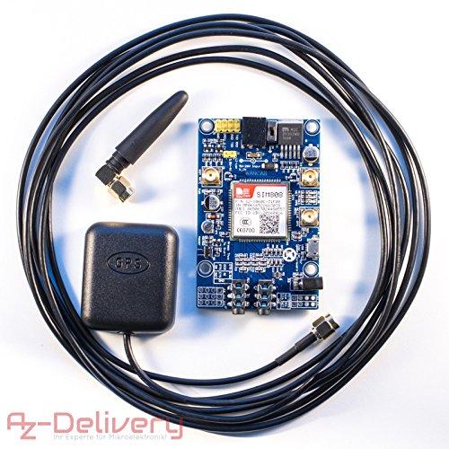 AZDelivery ⭐⭐⭐⭐⭐ SIM 808 GPRS/GSM Shield mit GPS Antenne für Arduino und GRATIS eBook!