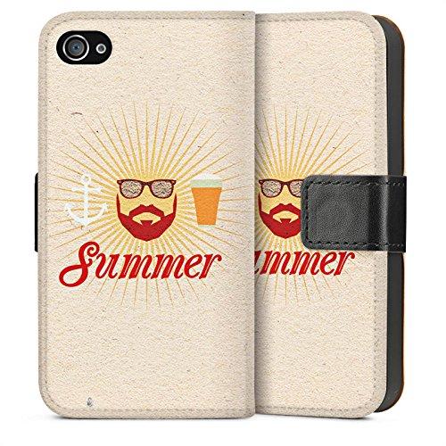 Apple iPhone 4 Housse Étui Silicone Coque Protection Été Hipster Barbe Sideflip Sac