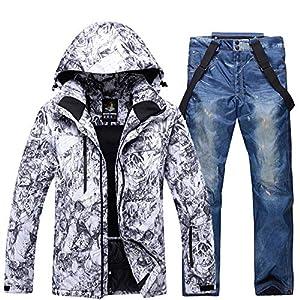 XIXIHY Herren Skianzüge Winterjacke Kälteschutz Warmhalten Bergsportanzug Furnier Doppeldecker Skijackenhose