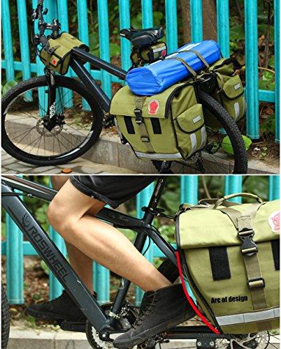LKN Radfahren Fahrradtasche wasserdicht Fahrrad Hinterrad Pack Tasche Sattel Tasche mit Triangle Tasche vorne Satteltasche 50L-army green