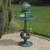 My Garden Path Abreuvoir et mangeoire pour oiseau en cuivre avec lampe solaire Vert