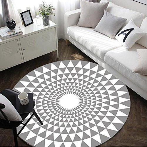 Moderner geometrischer Teppich runder Wohnzimmer Schlafzimmer Nachttisch Teppich ( Farbe : Grau , größe : 100CM )