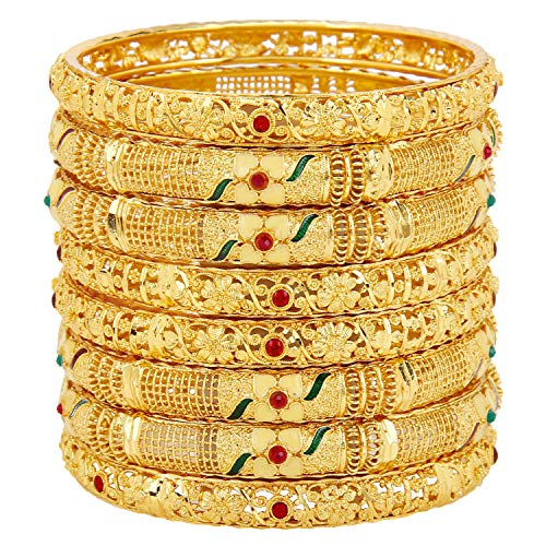 Mansiyaorange Eight Traditional Fancy Designer Casual Party Hand Work Meena One Gram Gold Multi Color Bangles for Women