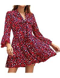 WINJIN Femmes Modernes Robes Col en V Jupe Imprimé Léopard en Vrac Robe  Plissées Manchon de Cloche OL Jupe… 926fb5e23404