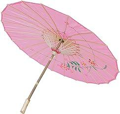 Generic Handmade Chinese Cloth Floral Umbrella Wedding Dance Props - pink