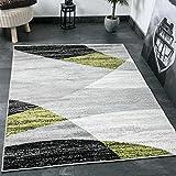 Alfombra moderna de salón con dibujo geométrico en gris, blanco, negro y verde. Material con certificado ÖKO TEX , Maße:200x280 cm
