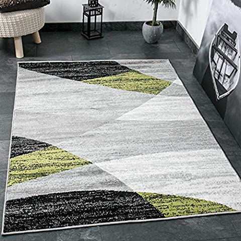 Living room carpet Modern Geometrical Pattern Mottled in Grey White Black and green - ÖKO TEX Certified - Green, 47.24