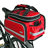 Tancendes Bike Rear Bag Dicker Rackriemen Verlängerter Schulterriemen Wasserdichter Nylon Fahrrad Sitzkoffer mit Regenmantel (Rot)