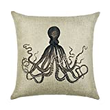hengjiang Creative Retro Marine Life Serie Überwurf Kissen Double Side Kissen Baumwolle Leinen Vintage Sofa Home Decor Geschenk Fisch Shell Wal 05