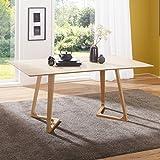 FineBuy Esszimmertisch SCANIO 160 x 74 x 90 cm MDF Holz | Skandinavischer Esstisch mit rechteckiger Tischplatte | Robuster Küchen-Tisch im Retro Stil | Holz-Tisch in Eiche-Furnier