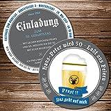25 Echte Bierdeckel Einladung Geburtstag Motiv Bierglas Prost Bieruntersetzer Karte originelle individuelle Einladungskarte