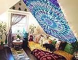 Future Handmade - Lenzuolo da una piazza e mezzo da letto, da appendere alla parete, da spiaggia, tappeto per yoga, arazzo, 100% cotone, con tintura a riserva colorata, 100% Cotone, Multi, Design 5