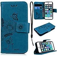 CE-Link für iPhone SE Hülle, iPhone 5 / iPhone 5s Handyhülle Ledertasche Schutzhülle Leder Huelle mit Blau Schmetterling... preisvergleich bei billige-tabletten.eu