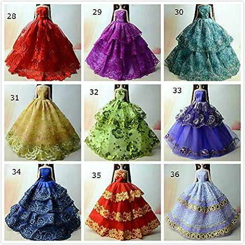 Costumes Princesse Tiana Robes - 3pcs Poupée jouet dentelle Satin longue robe
