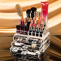 vmore Double Layer Beauty Vanity Jewellery Clear Acrylic Make Up Cosmetic display Stand and organizer rack, holders can be used for make up brush sets, jewelery, arts and craft
