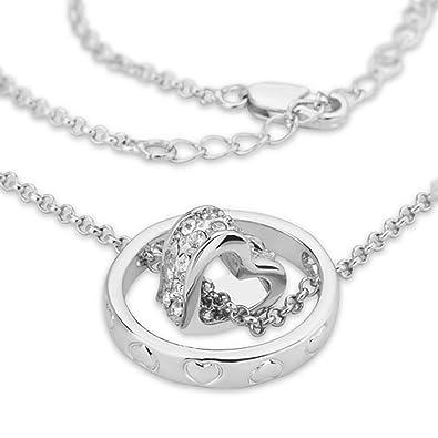 Weißgold kette damen  Taffstyle® Damen Halskette mit Ring Herz Strass Kristall Anhänger ...