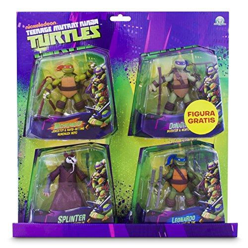 Tortugas Ninja Pack de 4 figuras, 14 cm (Giochi Preziosi 90610), colores surtidos