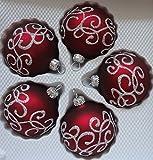 Matte dunkelrote Weihnachtskugeln aus Glas mit silbern Glitzernden Applikationen Durchmesser 6 cm 5er Set