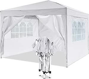 YUEBO Gazebo 6x3 Impermeabile Gazebo Pieghevole Professionale Gazebo Impermeabile con pareti Tenda Gazebo Campeggio Tendone per Feste Bianco