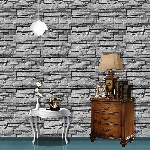 Grigio Mattonelle effetto mattone Carta da parati Casa d\'epoca Autoadesivi adesivi murali Peel-stick Fondali in pietra Sfondo Decorazione da parete 3D aggiornamento professionale in vinile