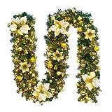 Lispeed Weihnachtsgirlande mit Beleuchtung Girlande Künstliche Tannengirlande Zweige Grün 2.7m Weihnachtsbeleuchtung Außen