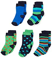 Mala Boy's with Diff Pattern 5-Pack Ankle Socks, Blue (Dark Navy), 0-3 Months (Manufacturer Size:15\18)