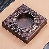 SDKKY Ebony wood ashtray high-grade wood hand-carved Office business gift ashtray ashtray