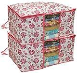 #3: Kuber Industries 2 Piece Non Woven Under Bed Storage Bag Set, Pink