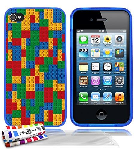 Ultraflache weiche Schutzhülle APPLE IPHONE 4 / IPHONE 4S [Brick mosaic] [Lila] von MUZZANO + STIFT und MICROFASERTUCH MUZZANO® GRATIS - Das ULTIMATIVE, ELEGANTE UND LANGLEBIGE Schutz-Case für Ihr APP Blau + 3 Displayschutzfolien