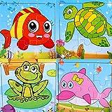 SIPLIV puzzle di legno 9-pezzi di puzzle per 2-5 anni i bambini, set di 4, Animali acquatici