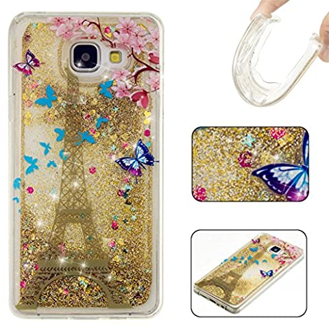 Samsung Galaxy A5 (2016) A510F Case MUTOUREN Elegant Rhinestone TPU Crystal Soft Gel Silicone Flexible Cover, Bling Glitter Design Slim Fit Anti-Scratch Shock Absorption Protective Back Case Cover Shell for Samsung Galaxy A5 (2016) A510F ( Eiffel Tower)