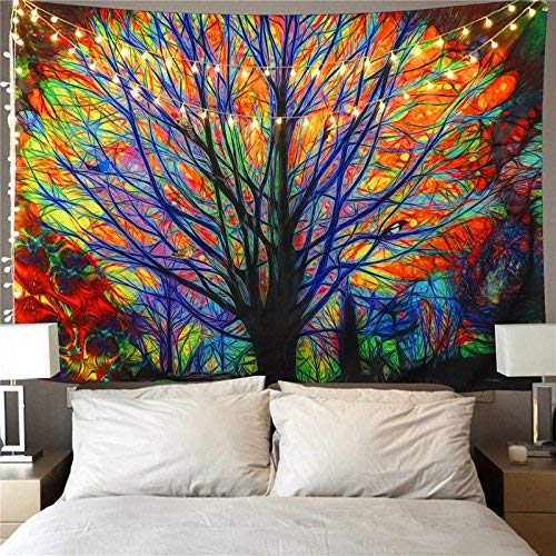 Wandteppich Indisch Mandala Hippie Bohemien Orientalisch Wandtuch Tapisserie wandbehang Hellblaue Blume Tapestry Psychedelic Boho Stil als Dekotuch Tagesdecke (Glücksbaum, L / 148x200cm)