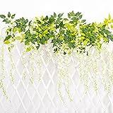 Künstliche Wisteria Kunstblumen Weihnachten Hanging Seide Blumen Kletterpflanzen 12Stück Weiß Bonsai Hängend Sinensis Samen Girlande Glyzinierebe Kunstpflanzen Hängend Blauregen Vinege LONGBLE
