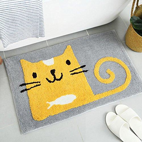 GWELL Cartoon Badematte kuscheliger weich Kurzflor schnelltrockend Badteppich Badevorleger Fußmatte Küchenläufer für Kinderzimmer Badezimmer gelb Katze 50*80cm