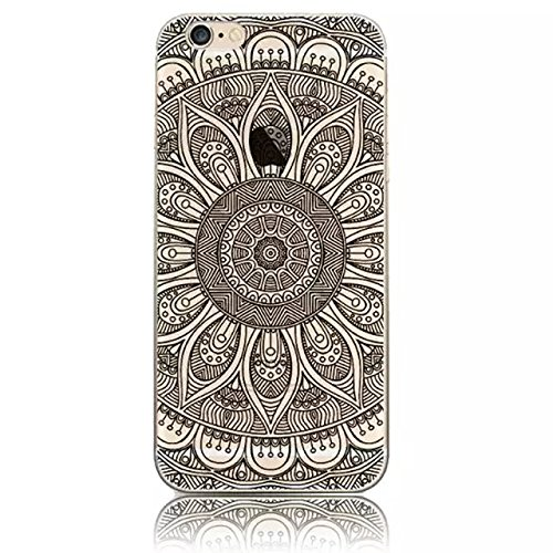 Vandot Exclusive Ultra Slim Premium Soft TPU Hybrid Case for Apple iPhone 6 6S 4.7 inch [Snap-on] [Scratch-Resistant] Silicone Back Cover Colorful Printing Aztec Tribal Henna Floral Mandala Mehndi Flower Lace Pattern -Black Totem (Flower 30) - Tribal Pouch