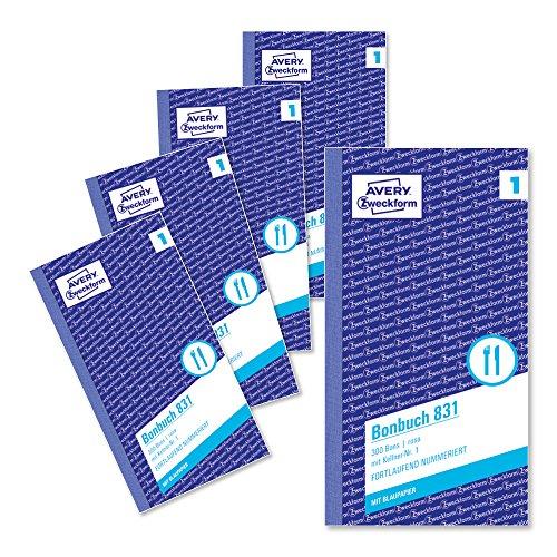 AVERY Zweckform 831-5 Bonbuch (Kompaktblock mit je 300 Bons, Kellner-Nr. 1, 2x50 Blatt) 5 Bücher rosa/weiß (2011 Buch)