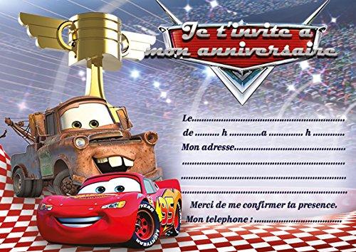 10 CARTES INVITATION ANNIVERSAIRE CARS 3 COMPLET JEU Flash McQueen