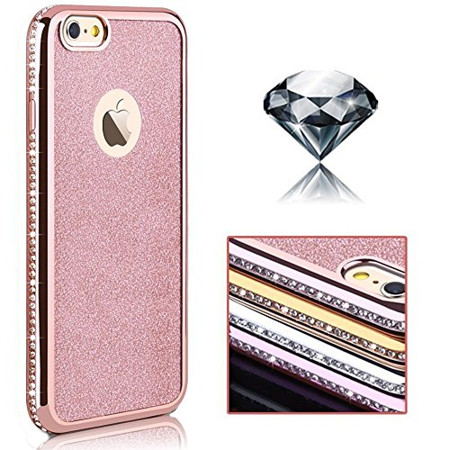 iPhone 6 Plus/6s Plus/ hülle vanki® Tasten Bling Glitzer-Strass Schutzhülle Clear Case Cover Bumper Anti-Scratch TPU Silikon Handyhülle für iPhone 6 Plus/6s Plus (5,5 Zoll) (Rose golden) Golden