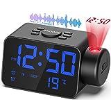 TAKRINK Radio Réveil Projection Plafond, Horloges Projecteur Plafond Numérique Fonction Radio FM Somme Affichage Température