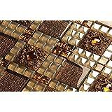 Nostalgia Marrón Decoración de arte de pared Mosaico de resina 300*300*8mm Cocina backsplash / ducha de pared de la pared de la pared / Hotel pasillo pared de la frontera / piso residencial de piso y aplicaciones de la pared(LSRN01) (11 pieza/㎡)