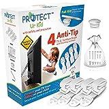 Kippsicherung TV und Möbel Gurte - mit Montageset - TV Kippschutz Gurte für Baby Sicherheit - 4 Stück in weiß