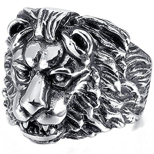 mendino Herren Löwe Patterm Edelstahl Silber Schwarz Farbe Ringe mit einem Samtbeutel Herren-lion-ringe Aus Edelstahl